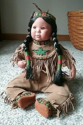"""Native American Doll Beaded Moccasins Clothes & Headband Porcelain sits 10"""""""