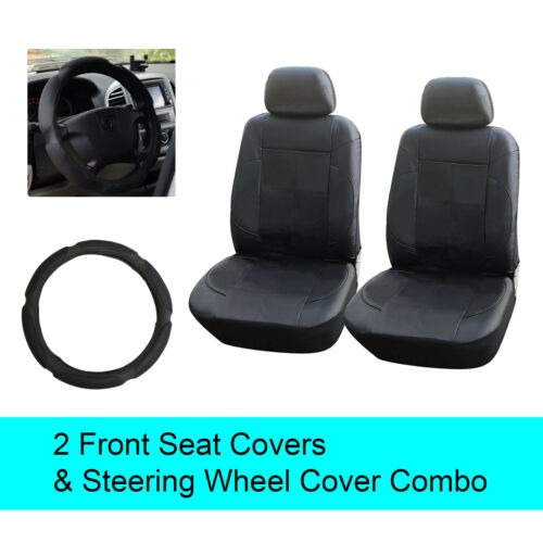 6D15301 Steering Wheel cover Black PU Leather 2 Front Car Seats Covers