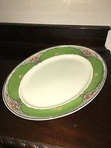 A-J-Wilkinson-Royal-Staffordshire-Pottery-Platter-19-x15-1930-Art-Deco-LARGE