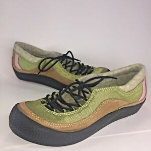 MERRELL Women 6 Tan Green Suede Lace Up Loafer Shoe Flat Sneaker Pink Sport NWOB