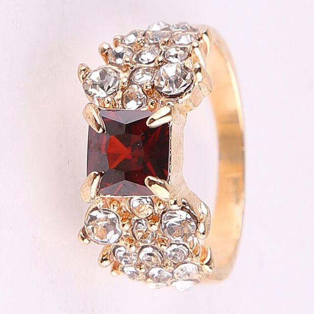 Elegant Fashion Jewelry Lady Women 18K Gilded Crystal Gift Ring Size 8.5 us