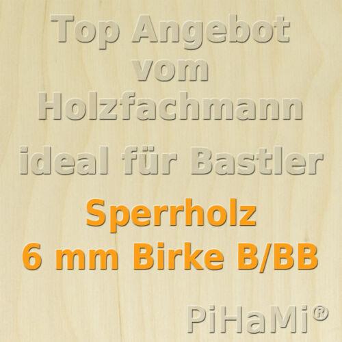 Sperrholz 13,50€//m² 6 mm Birke Sperrholzplatte Bastelholz 5 Platten 76 x 50 cm