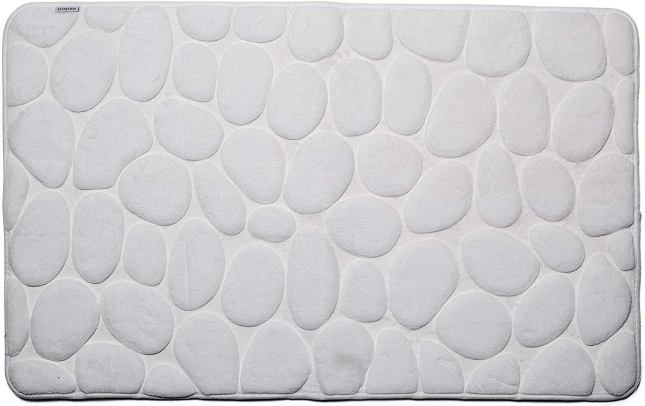 Croydex Bath Mat White Pebble Super Soft Memory Foam with Non Slip Backing White