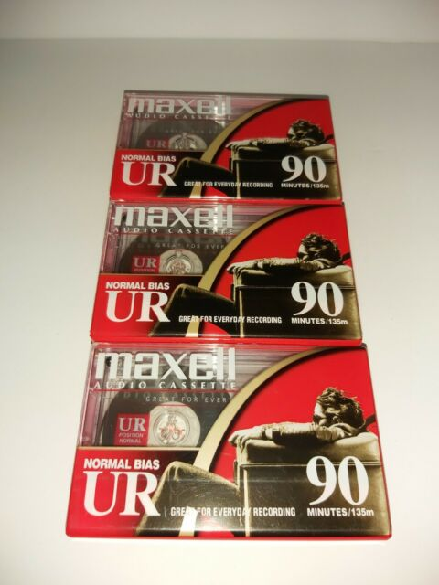 3 Maxell UR 90 Blank Audio Cassette Tapes Normal Bias Factory Sealed
