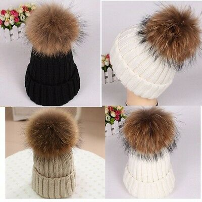 Large 15CM Ball Women Knitted Hat Fur Pom Crochet Beanie Ski Cap Warm Bobble Hat