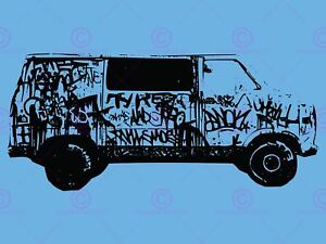 VAN GRAFFITI BLACK BLUE RETRO COOL 12 X 16 INCH POSTER ART PRINT VE102A