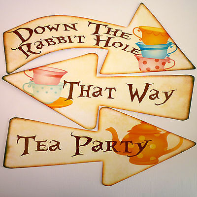 8 Alice in Wonderland Signs/Arrows Quote Mad Hatters Tea Party Decoration Props