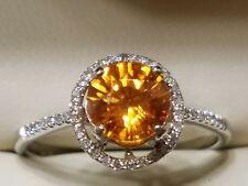Estate 1.80 CTW Orange Natural Sapphire and Diamond  Halo Ring  Size 8