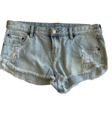 Silver Jeans Shorts Low Rise Light Tia Stretch Denim Jean Short Cut Off 27 29