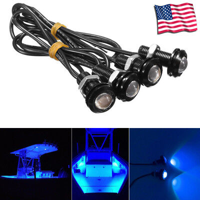 4x Blue LED Boat Light Silver Waterproof Outrigger Spreader Transom All Weather