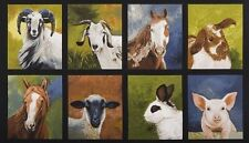 8 FARM LIFE PANELS HORSES, GOATS, PIG, RABBITS & SHEEP FOR QUILTS AND HOME DECOR