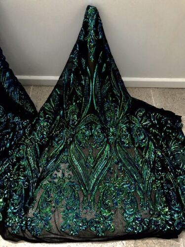 "Black Blue Green Stretch Sequins Embroidery Lace Fabric 50"" Width 1 Yard"