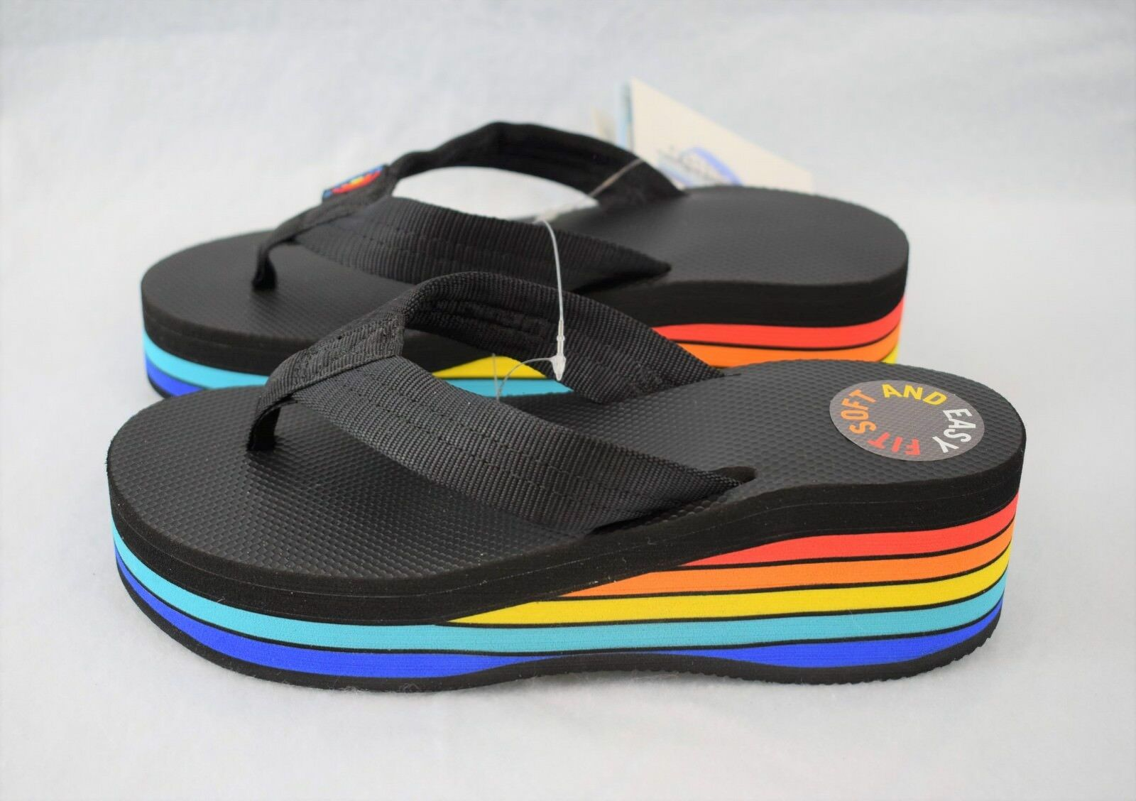 Women's XL 8.5-9.5 8.5-9.5 8.5-9.5 RAINBOW 6 Layer Rainbow Wedge Rubber w  Black Strap Sandals 7bc5ef