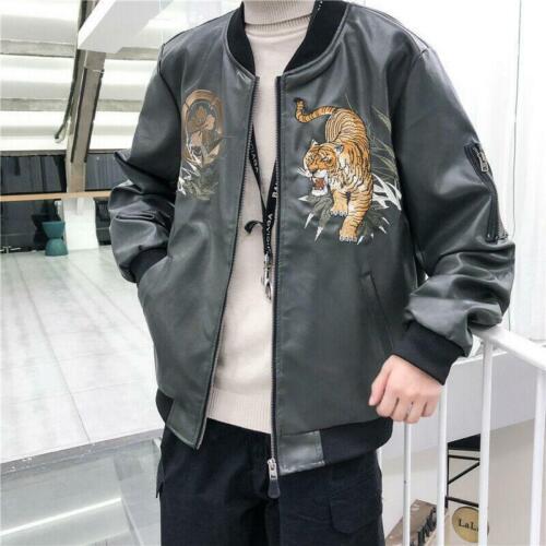 Men Leather Jacket Sukajan Japanese Embroidered Tiger Sport Baseball Bomber Coat