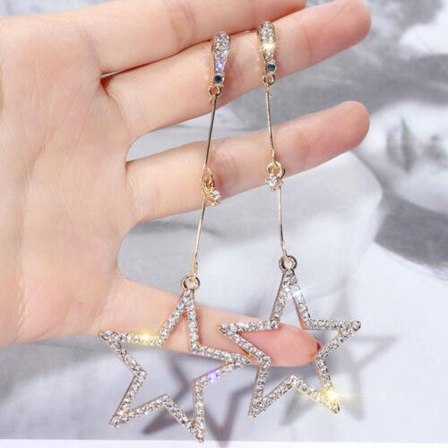 Hueco Estrella de cinco puntas de cristal Pendientes Colgantes de gota de Fiesta de Mujer Joyería Regalo