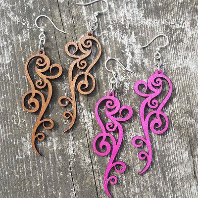 Green Tree Jewelry earrings ORNATE SCROLL laser-cut wood filigree CHOOSE 1261