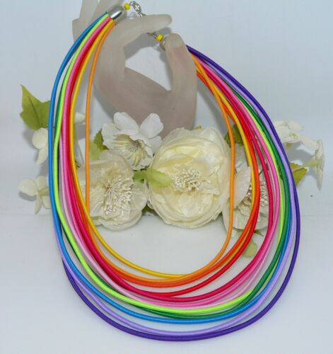 Kette Halskette Collier Statement Textil  bunt mehrfarbig multicolor t02a