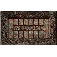 Welcome Mat Front Door Outdoor Raised Rubber Decorative Stone Floor Rug Gift