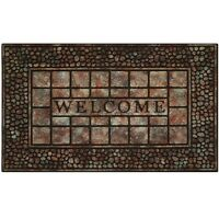 Welcome Mat Front Door Outdoor Raised Rubber Decorative Stone Floor Rug Gift