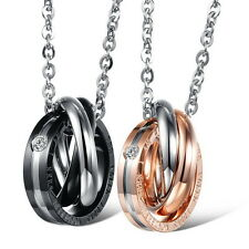 A Pair Stainless Steel His Hers Interlocking Ring Couples Pendant Necklace