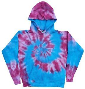 Pink-amp-Blue-TIE-DYE-HOODIE-Sweater-Fashion-Tye-Die-T-Shirt-Festival-Tee-Tshirt