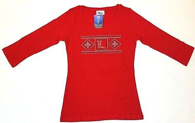 Nitro USA NCAA Womens Jewel Neck Sleeved Top with Rhinestone UL Cardinal Wing