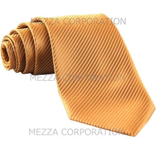 New polyester formal Vesuvio Napoli stripes neck tie wedding prom party Gold