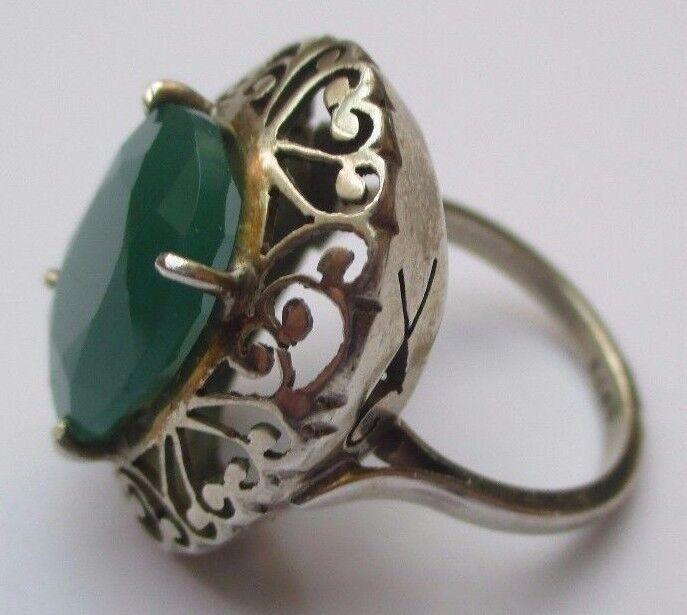 Superbe Bague argento argento argento massif 925 onyx verde émeraude bijou vintage Dimensione 53.5 50b3ef