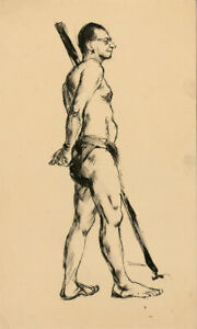 Peter Collins ARCA - c.1970s India Ink, Standing Male Nude