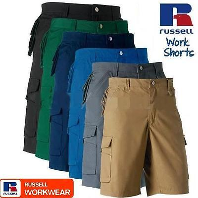 Russell Heavy Duty Work Trousers TEFLON WORKWEAR CARGO ARMY COMBATS MENS SHORTS