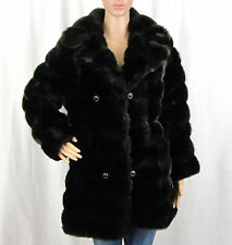 VTG '70s '80s '90s Womens XL Royal Mink Hillmoor Dark Faux Fur Coat Union Made