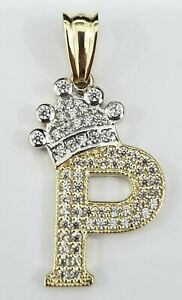 REAL 14k Yellow Gold Crown Initial Alphabet Letter I Pendant Charm King Bling