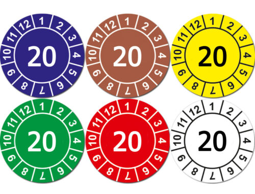 Prüfplaketten Jahresplaketten 20 BLAU Wartung Prüfung Glanz Permanent Folie