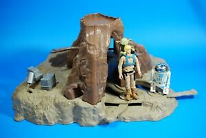 Vintage-Star-Wars-Complete-Yoda-Dagobah-Swamp-Playset-Action-Figures-KENNER