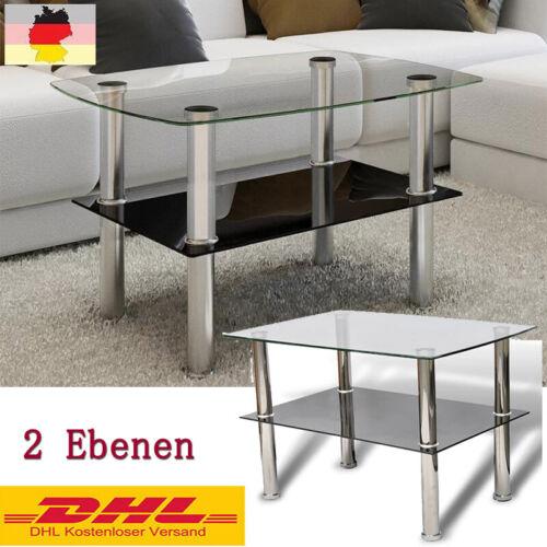 Couchtisch Beistelltisch Wohnzimmertisch Glastisch 2 Ebenen Tisch Möbel
