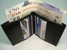 Leather Slim Credit Card Holder with Space for Paper Money Space Black
