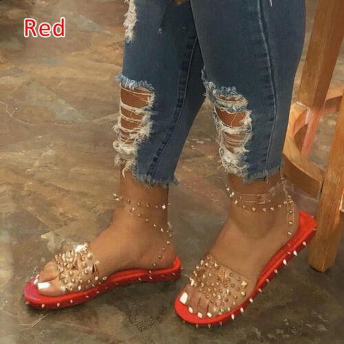 Women Flats Peep Toe Clear Transparent Studded Rivets Slides Slippers Sandals
