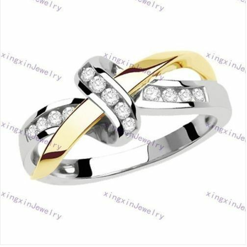 Size 6-10 White Crystal Bow-knot Cross Ring 10k White/Yellow Gold Filled Jewelry