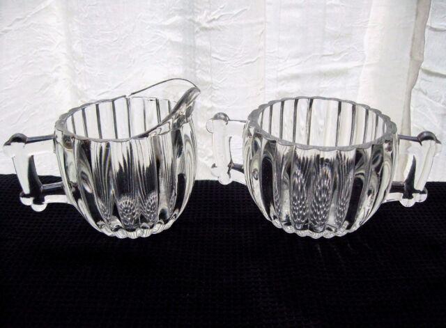 Jeannette Glass Clear National Creamer Pitcher & Sugar Bowl Set