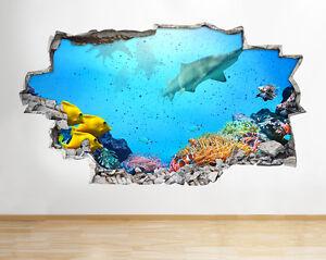 A088-Aquarium-Fisch-Haifisch-Korallenriff-Plakat-Wandaufkleber-Wandsticker-3D