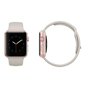 official photos ce1f7 e8dae Details about Apple Watch Sport 42mm Rose Gold Aluminium Case Stone Sport  Band