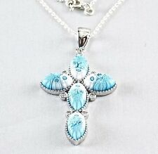 Genuine Murano Millefiori Glass Cross Necklace By Alan K 925 Sterling Silver 18