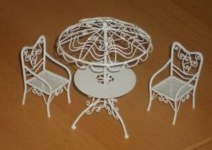 Das Bild Wird Geladen Gartenmoebel Weiss Metall Massstab 1 12 Miniatur F D