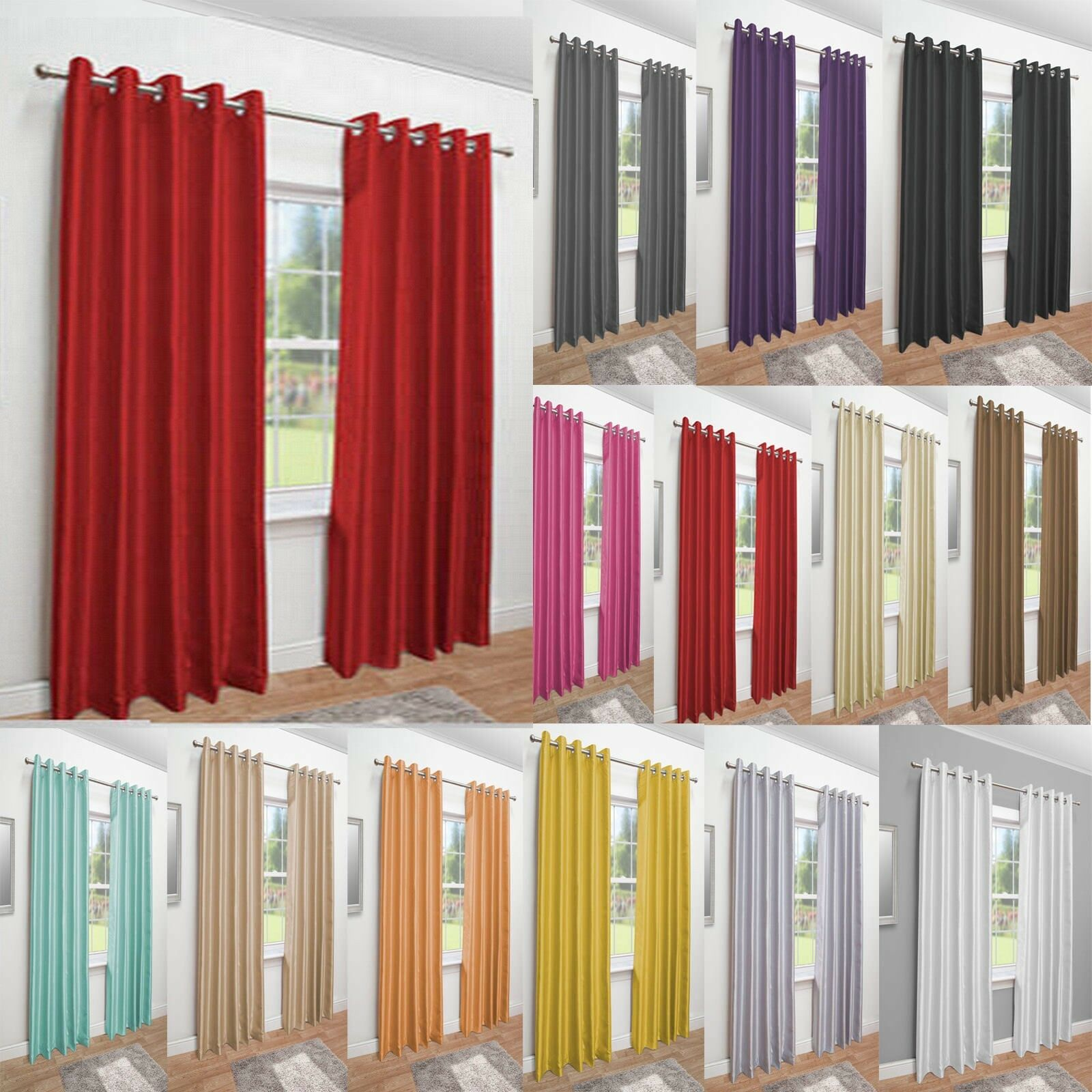 Faux Silk Fully Lined Curtains Luxury  living  - Eyelet Curtain Pair Luxury