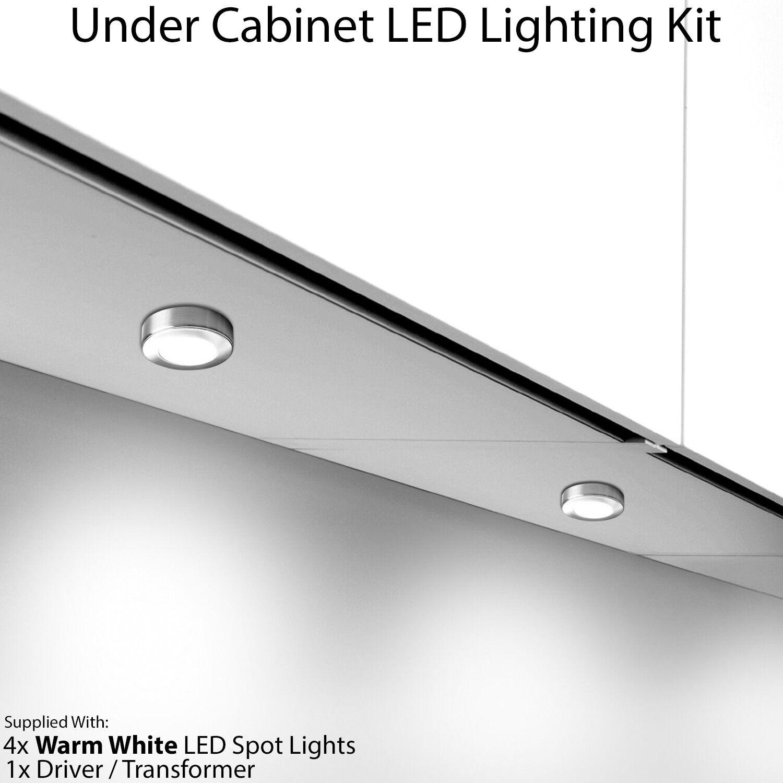 4x 2.6W LED Kitchen Cabinet Surface Spot Lights & Driver Kit -Steel- Warm Weiß