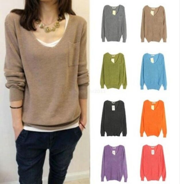 Womens Loose Knitted V-Neck Pockets Casual Pullover Sweater Coat Tops