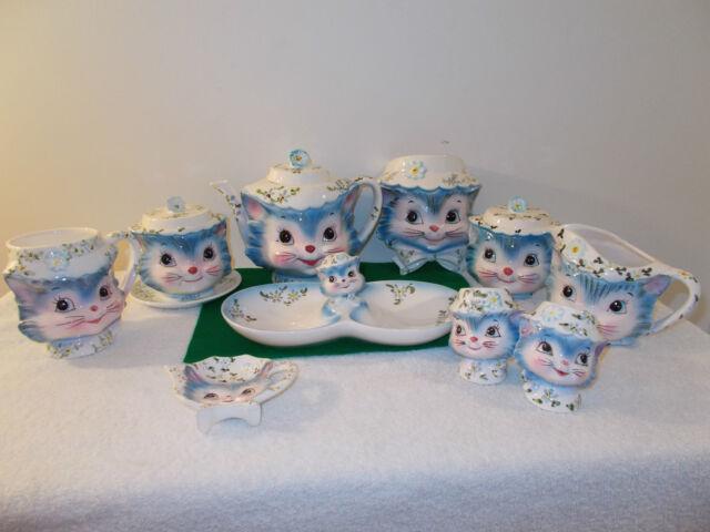 Vintage Lefton Miss Priss Kitty Cat 13 Piece Set
