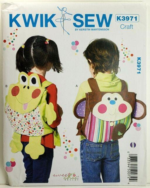 Kwik Sew K3971 Animal Backpacks for Kids Monkey, Frog Applique UNCUT PATTERN
