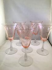 Set of 6 Pink Depression Glass Swirl Wine/Water Glasses w/ Clear Stems
