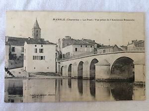 CPA-MANSLE-Charente-Le-pont-Vue-prise-de-l-039-Ancienne-Brasserie